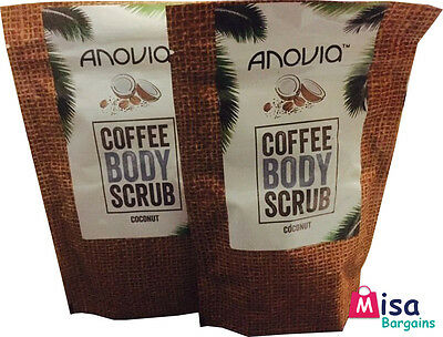 2 X Coffee Body Scrub Coconut 150g stretch marks, exfoliator UK MADE