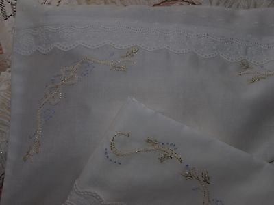 Hand Embroidered Ivory Cotton Voile Baby Bassinet Sheet & Pillowslip Set