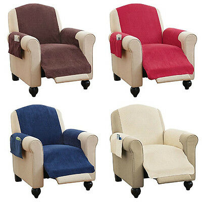 Faux Chenille Recliner Chair Furniture Cover with Pockets 4 Colors Comfy NEW
