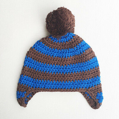 Baby Boy Blue Stripe Beanie Hat Cap Photo Props Crochet Knitted 0-3, 3-6 Mths