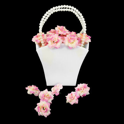 Ivory Satin Wedding Party Flower Girl Basket Pearl Handle Favors Prop