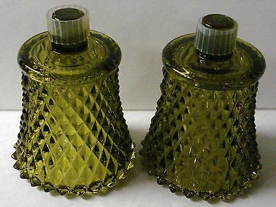 2 Green Glass Peg Candle Votive Cups W/Rubber Adapters Home Interiors (B)
