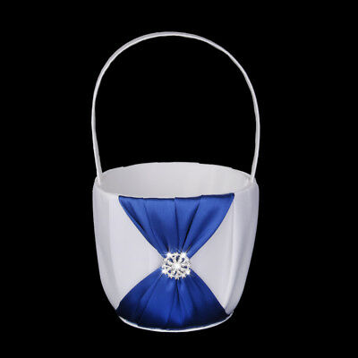 White Satin Flower Girl Basket Royal Blue Bowknot Crystal Wedding Accessory