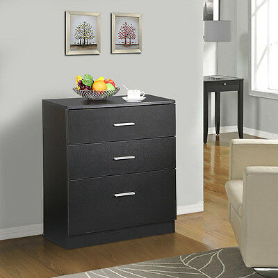 Wood 3 Drawer Office File Cabinet Black Filing Storage Cupboard Chest of Drawers