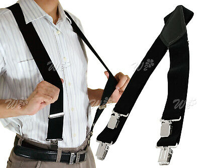 "2"" 50mm Wide Mens X-Back X Shape Heavy Duty Trousers Black Brace Suspender"