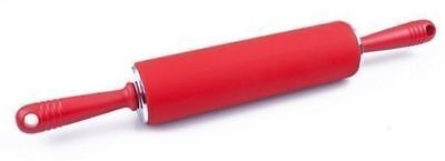 Kitchen Silicone Roller Dough Rolling Pin Fondant Cake Pastry Revolving 49cm Red