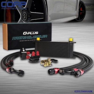 16 Row AN-10AN Universal Engine Transmission Oil Cooler + Filter Relocation Kit