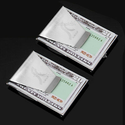 2x Double Sided Money Clip Cash Note Credit Card Holder Stainless Steel Wallet