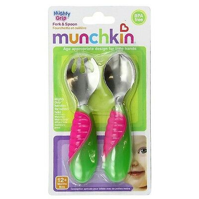 Munchkin Mighty Grip Fork - Spoon Set, Colors May Vary 1 ea