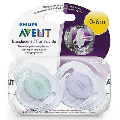 Philips Avent Orthodontic Pacifier, 0-6 Months [colors vary] 2 ea