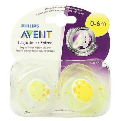 Philips Avent BPA Free Nighttime Infant Pacifier, 0-6 Months 2 ea