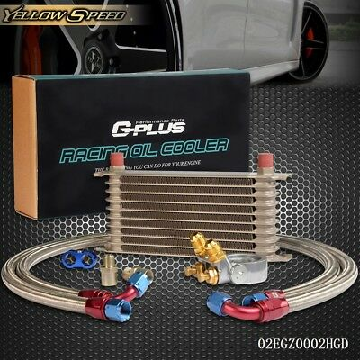 GPLUS 10 ROW Thermostat Adaptor Engine Racing Oil Cooler Kit For CAR/TRUCK GD