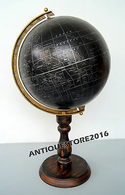 Vintage Wood Base Stand Imperial Educational World Globe With Antique Finish ...