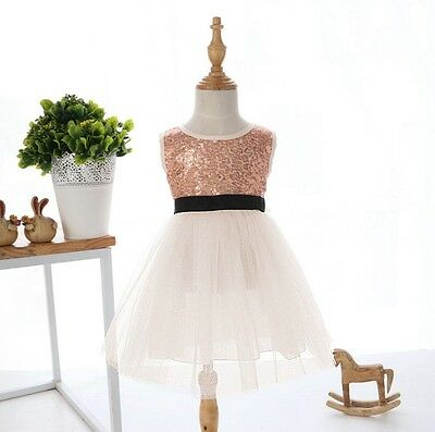 New Vintage Baby Girl Sparkly Lace TuTu Sequin Dress Size:1,2,3,4,5,6 Gift
