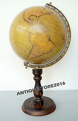 Vintage Wood Base Stand World Globe Decorative Very Original Classical Series ..