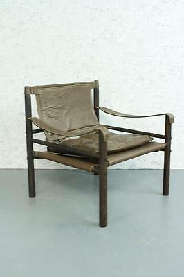 Arne Norell Safari Sirocco Chair Retro Brown Leather Midcentury Vintage #1793