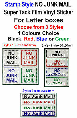 Stamp Style NO JUNK MAIL Vinyl Sticker For Letter boxes (Styles Choose)
