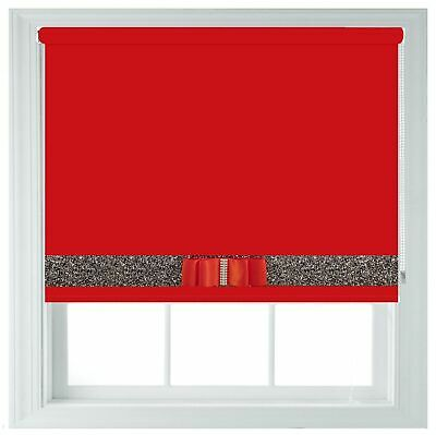Black Blackout Roller Blind Made to Measure With Red Glitter Black Bow