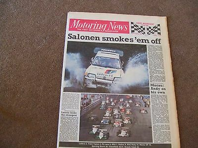 Motoring News 26 November 1986 Lombard RAC Rally Report Macau GP