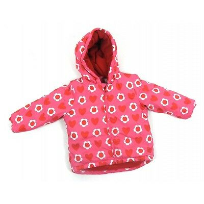 Ex John Lewis Baby Girls Pink Floral Heart Lined Hooded Jacket Coat Age 6 12 24
