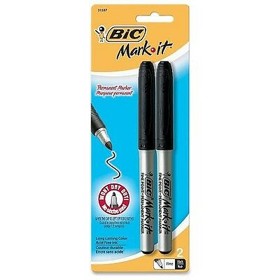 Bic Mark-It Fine Point Permanent Marker, Black 2 ea (Pack of 9)