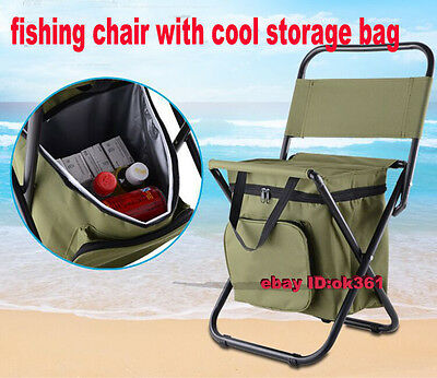 Muti Use Portable Folding Outdoor Fishing Chair Stool Seat with Storage Cool bag