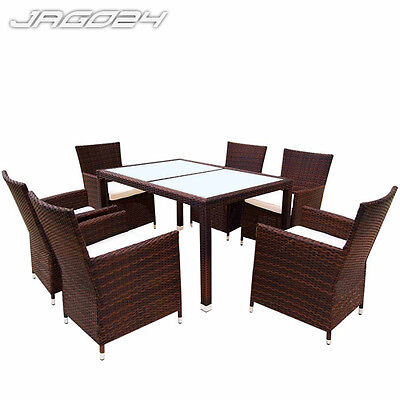 Poly Rattan Garden Furniture Dining Table and 6 Chairs Set Outdoor Patio Brown