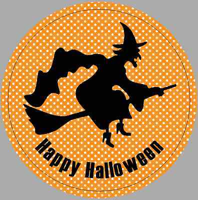 24 x 40m Stickers Round Halloween Witch Orange Not Personalised Labels