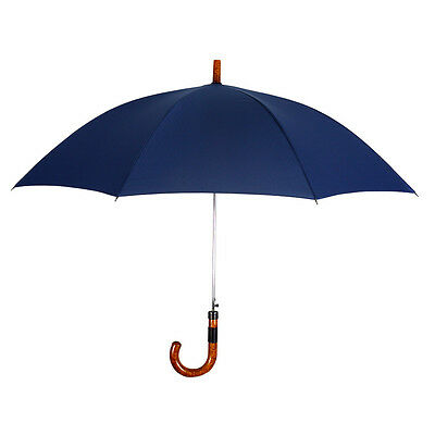 Navy Blue Wind Resistant Executive Umbrella Teflon Wood Handle Leather Accent