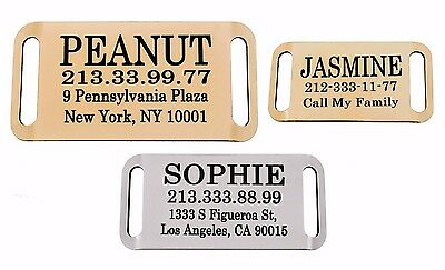 Dog Tag Personalized Slide On Slider Pet ID Name Custom Engraving Brass Steel