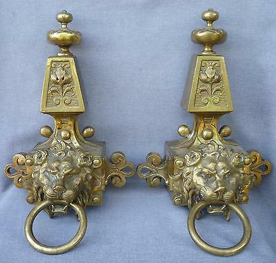 Huge antique pair of ormolu chenet, knocker France 19th century bronze lions