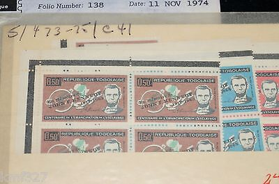 TOGO : Sc# 473-475 + C41 MNH OVPT VERY FINE 1964 BLOCK OF 4 + SINGLE STAMPS