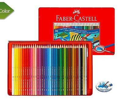 Faber-Castell Watercolour Pencil 12 24 36 Colors Tin Case Drawing Painting