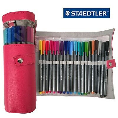 Staedtler Triplus Fineliner 334 PC20 Color Ink Pen 0.3mm Pencil Case Pink