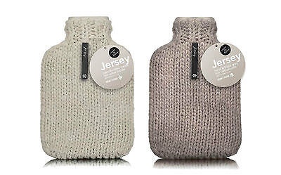 Contemporary Cream or Grey Jersey Designer Chunky Hand Knit 2L Hot Water Bottle