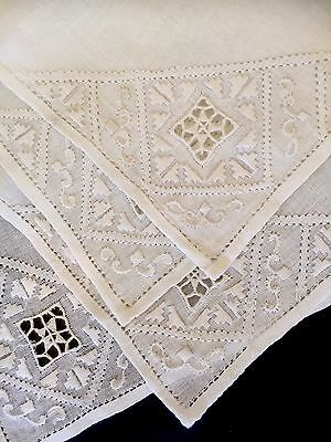 Vtg Cutwork Linen Placemats Napkins Luncheon Table Linens Set Four Ivory