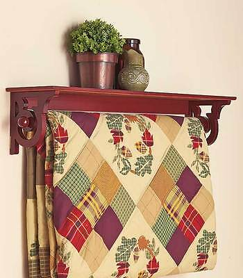 Deluxe Quilt Blanket Holder Wall Rack With Shelf Scrolled In Walnut Finish