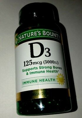 Nature's Bounty Vitamin D3 5000iu 150 count Free Shipping 6/2020 125 mcg softgel