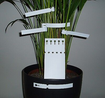 Wide Face Loop Lock Labels - White 16Cm Tie On Plant Labels Plant Tag Label New