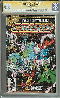 Crisis On Infinite Earths #1 Ss Cgc 9.8 1St App Blue Beetle Signed George Perez