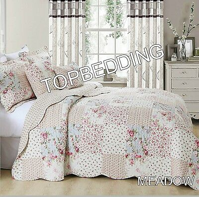 Bedspread 3Pcs Cotton Quilted Filled Cotton Patchwork Printed Comforter Meadow
