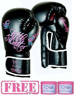 ISLERO Ladies Boxing Gloves MMA Women Punch Bag Leather Sparring Mauy Thai Fight