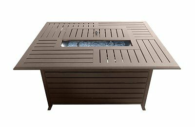 AZ Patio Heaters - CA Rectangle Aluminum Slatted Fire Pit with Stainless Steel P