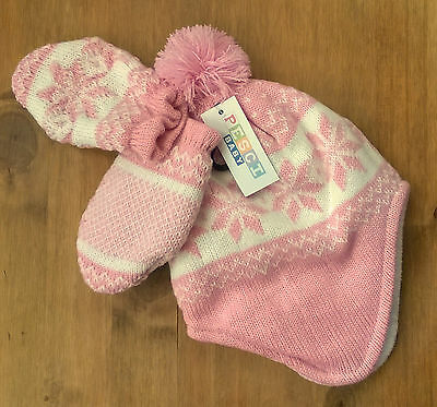 Baby Girls Pink White Snowflake Nepalese fleece lined hat and mitts 3-6 mnths