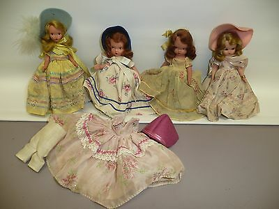 Lot of 4 NASB Dolls, 2 Stone Bisque, 2 Hard Plastic & Outfit