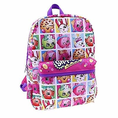 """Shopkins  Collectible Characters  Girl's 16"""" Canvas Pink School Large Backpack"""