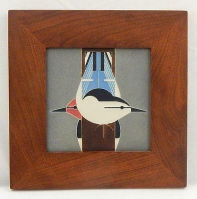 Framed Arts and Crafts Motawi 6x6 Upside Downside Charley Harper Tile E983
