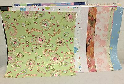 Lot of 40 Assorted 12 x 12 Scrapbook Paper Sheets Crafts Cards