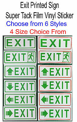 EXIT Printed Sign Super Tack Film Sticker For Shop, Office, Business....