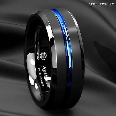 8mm Brushed Black Tungsten Carbide Band Ring Blue Line inside Men Jewelry Bridal
